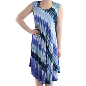 wholesale Summer Calf Length Dresses 11709 Navy/Light Blue Diagonal Stripe (MB) -