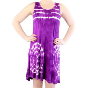 wholesale Summer Calf Length Dresses 4766 Purple Bold Tie-Dye -
