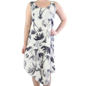 wholesale Summer Calf Length Dresses 89537 White Brushstroke Palm Trees -