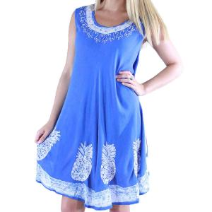 wholesale Summer Calf Length Dresses 11553 Blue Pineapples -