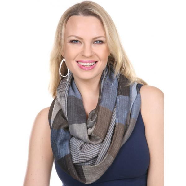 wholesale Infinity Scarves - Plaid 7339 Blue-Black Infinity - Plaid 7339 -