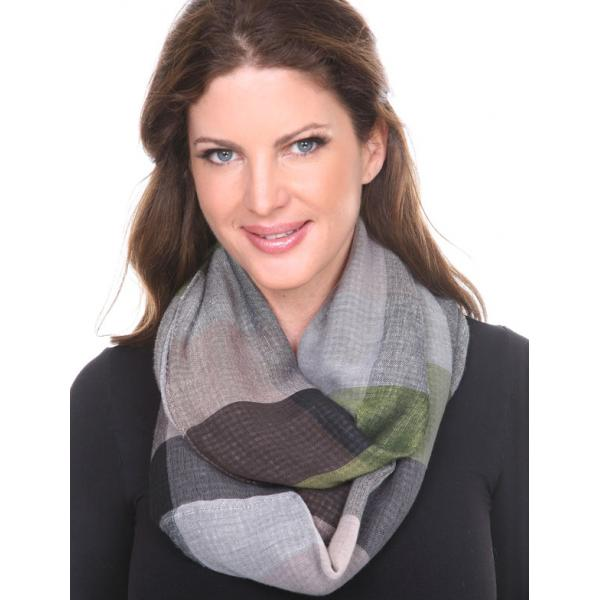 wholesale Infinity Scarves - Plaid 7339 Green-Black Infinity - Plaid 7339 -