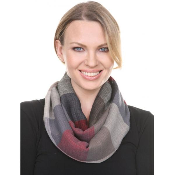 wholesale Infinity Scarves - Plaid 7339 Red-Grey Infinity - Plaid 7339 -