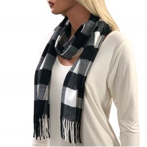 Wholesale  Buffalo Plaid White/Black Cashmere Feel Scarf -