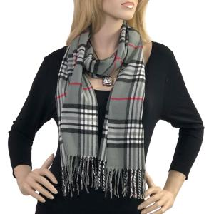 Wholesale  Tartan Plaid Grey Cashmere Feel Scarf -