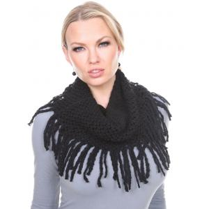 wholesale Infinity Scarves - Chenille Knit 7352 Black Infinity Chenille Knit 7352 -