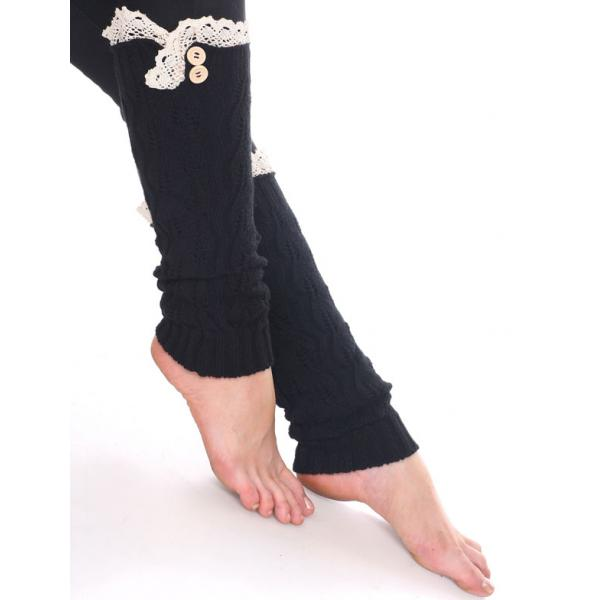wholesale C Leaf Leg Warmers with Button & Lace 264x105 Black Leaf Leg Warmers with Button & Lace 264x105 -
