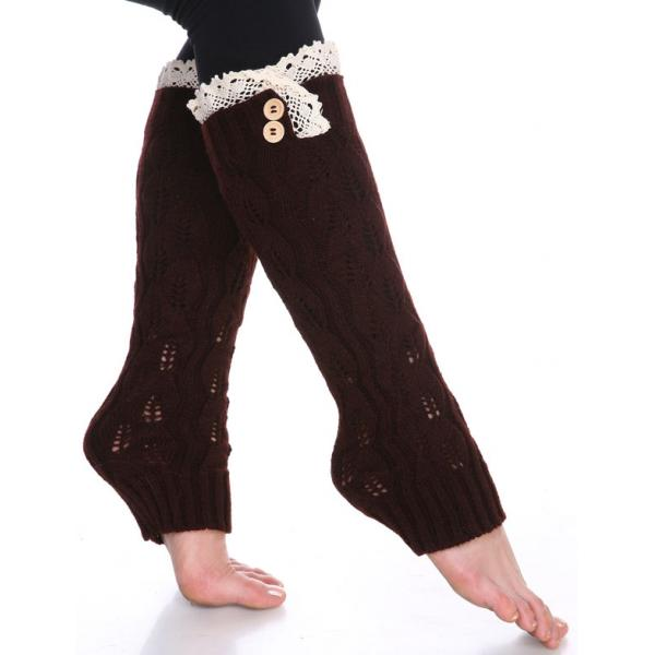 wholesale C Leaf Leg Warmers with Button & Lace 264x105 Dark Brown Leaf Leg Warmers with Button & Lace 264x105 -