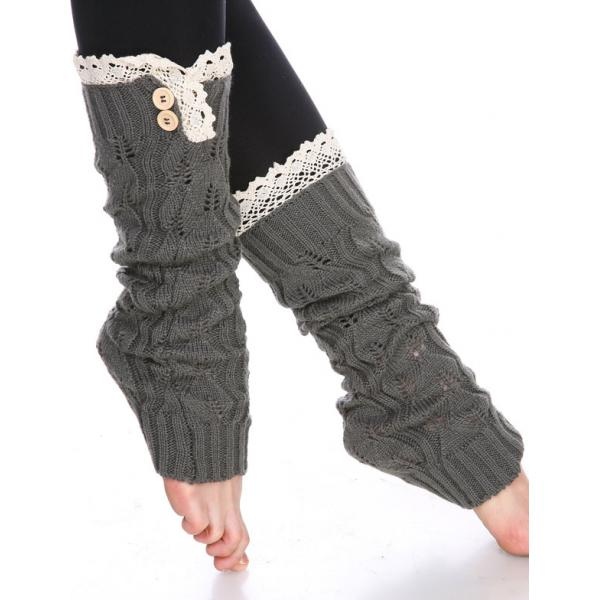 wholesale C Leaf Leg Warmers with Button & Lace 264x105 Dark Grey -