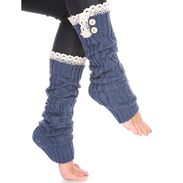 wholesale C Leaf Leg Warmers with Button & Lace 264x105 Denim -