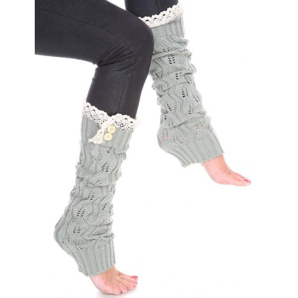 wholesale C Leaf Leg Warmers with Button & Lace 264x105 Sage -
