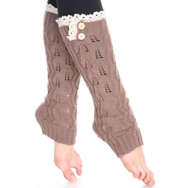 wholesale C Leaf Leg Warmers with Button & Lace 264x105 Taupe Leaf Leg Warmers with Button & Lace 264x105 -