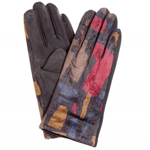 Touch Screen Smart Gloves - Fleece Lined  840-BK Sueded Abstract Design Smart Gloves (Black Palms)* - One Size