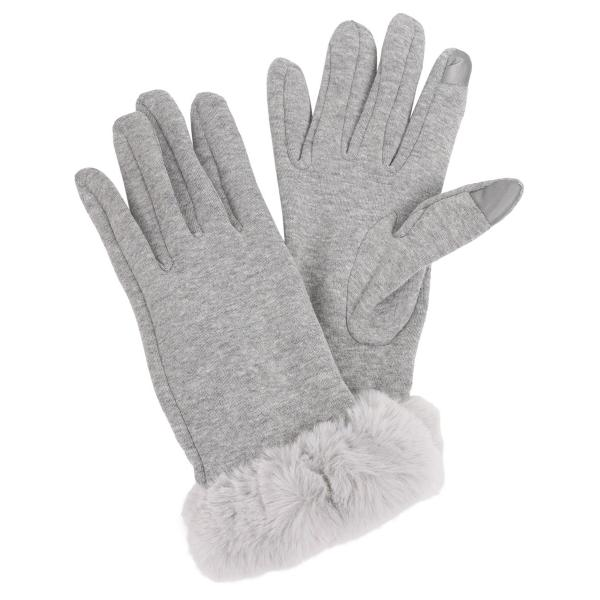 Touch Screen Smart Gloves - Fleece Lined  3531 - Grey  -