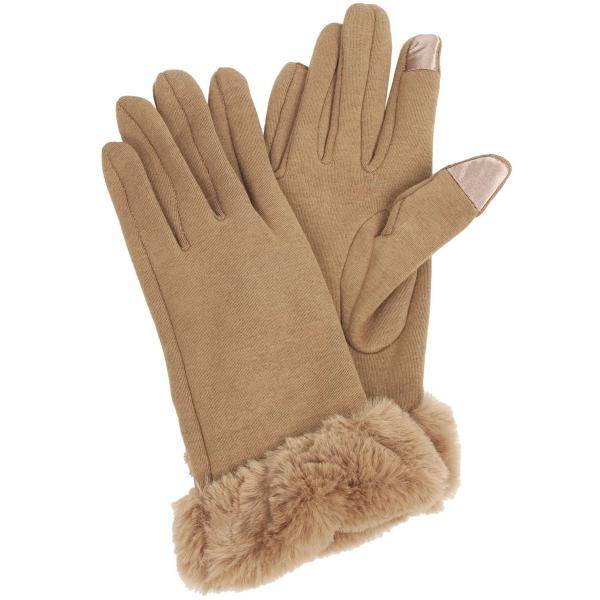 Touch Screen Smart Gloves - Fleece Lined  3531 - Taupe -