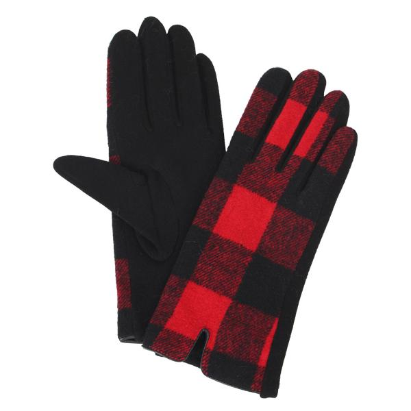 Touch Screen Smart Gloves - Fleece Lined  3541 - Buffalo Plaid Red/Black  -