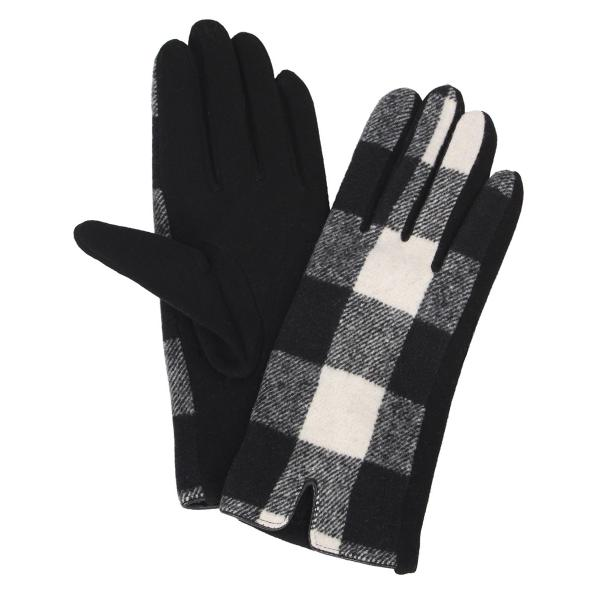 Touch Screen Smart Gloves - Fleece Lined  3541 - Buffalo Plaid Black/White  -