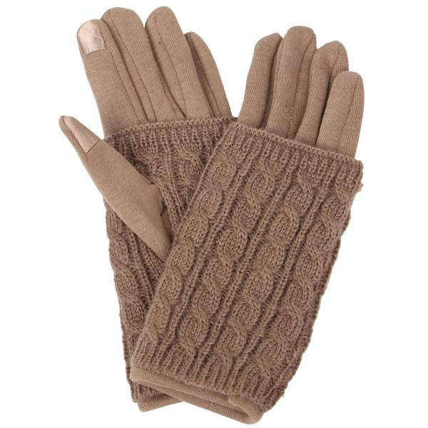 Touch Screen Smart Gloves - Fleece Lined  3540 - Taupe -