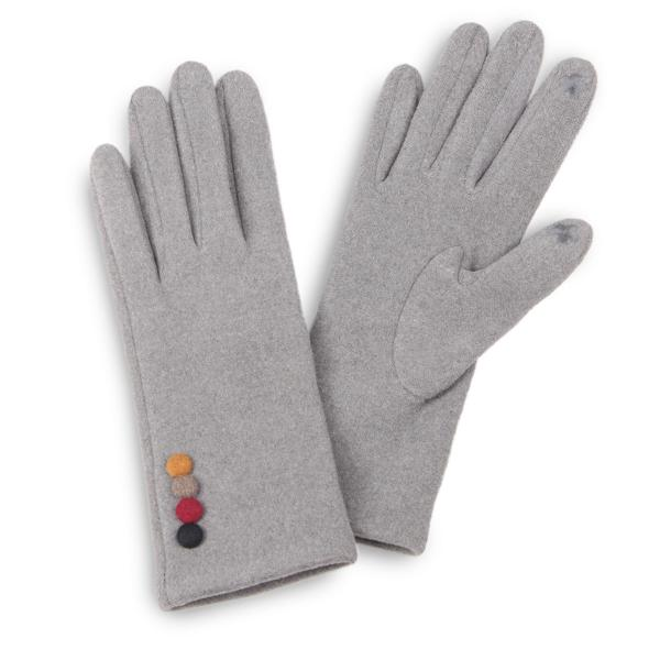 Touch Screen Smart Gloves - Fleece Lined  3554 - Colorful Button Grey -