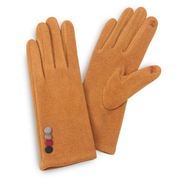 Touch Screen Smart Gloves - Fleece Lined  3554 - Colorful Button Camel -
