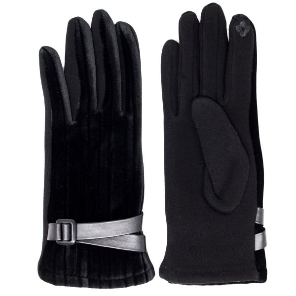 Touch Screen Smart Gloves - Fleece Lined  LOG096 Black (MB) -
