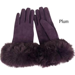 Wholesale  Premium Gloves - Faux Rabbit Fur - Plum - One Size Fits All