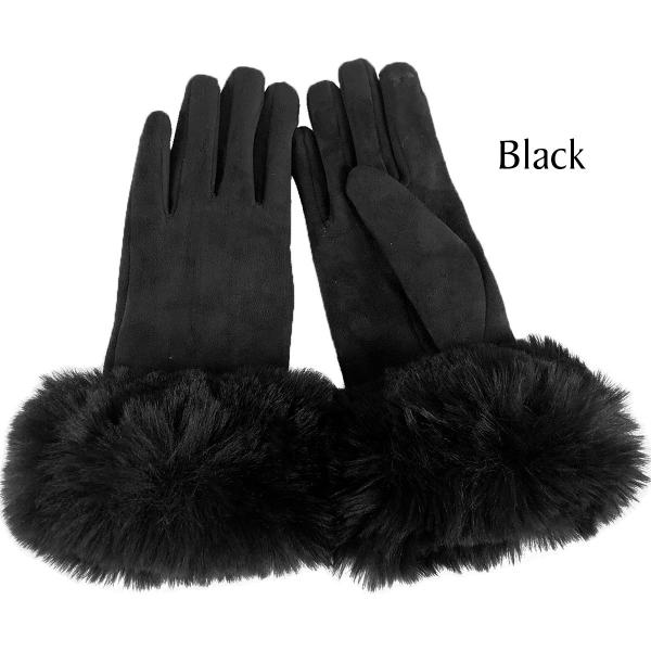 Touch Screen Smart Gloves - Fleece Lined  Premium Gloves - Faux Rabbit Fur - Black - One Size Fits All