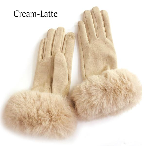 Touch Screen Smart Gloves - Fleece Lined  Premium Gloves - Faux Rabbit Fur - Cream-Latte - One Size Fits All