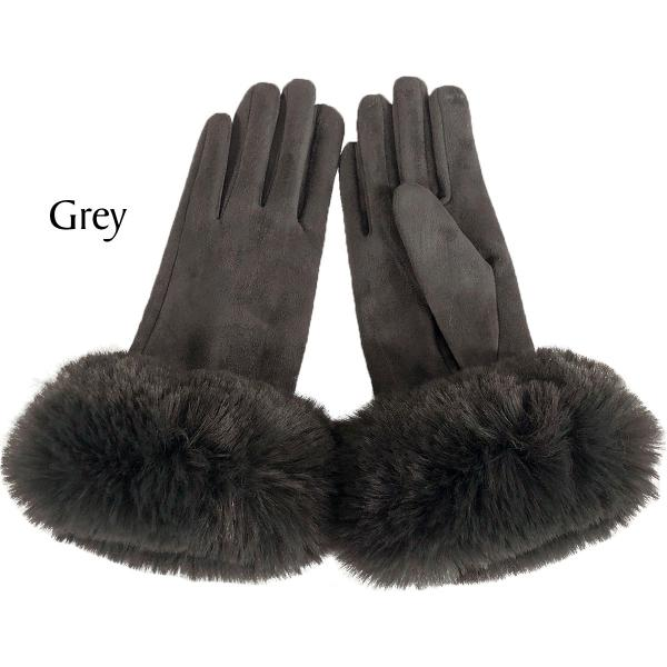 Touch Screen Smart Gloves - Fleece Lined  Premium Gloves - Faux Rabbit Fur - Grey-Charcoal - One Size Fits All
