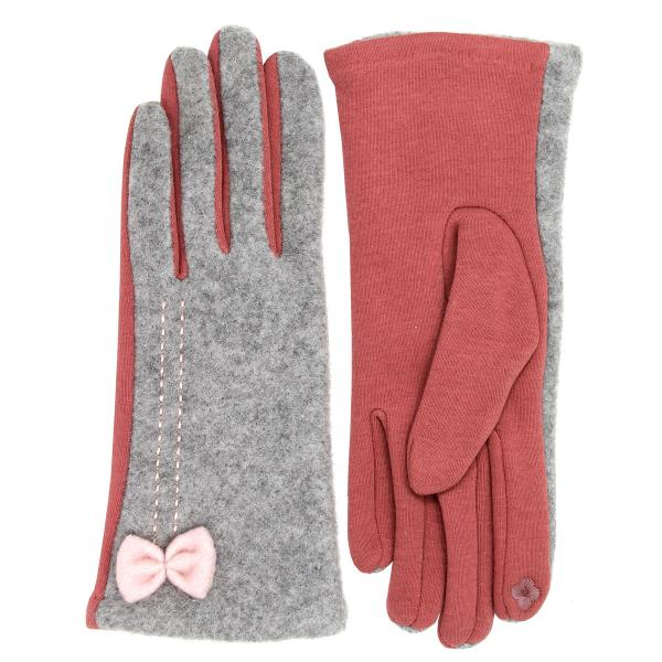 Touch Screen Smart Gloves - Fleece Lined  LOG125 Grey-Coral -