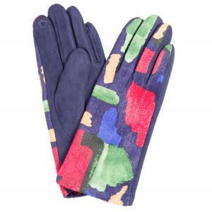 840 Sueded Abstract Design Smart Gloves (Blue Palms) - One Size