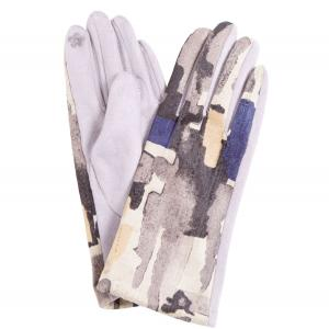 840 Sueded Abstract Design Smart Gloves (Grey Palms) - One Size
