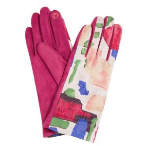 840 Sueded Abstract Design Smart Gloves (Wine Palms) - One Size