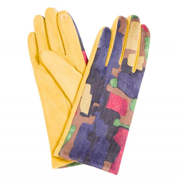 Touch Screen Smart Gloves - Fleece Lined  840-MU Sueded Abstract Design Smart Gloves (Mustard Palms) - One Size