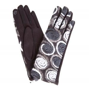 570 Spiral Yarn Design Smart Gloves (Black /White/Grey Multi w/ Black Palms) - One Size