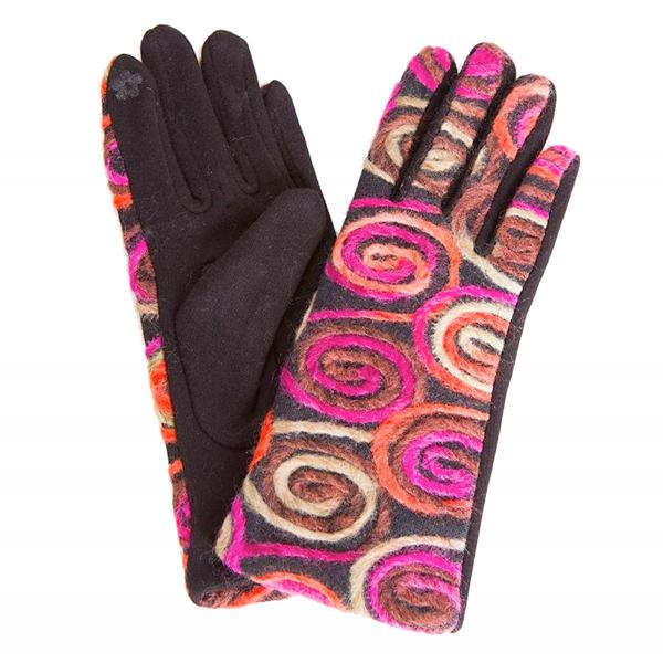 Touch Screen Smart Gloves - Fleece Lined  570-PK Spiral Yarn Design Smart Gloves (Pink Multi w/ Black Palms) - One Size