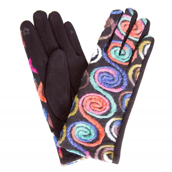 Touch Screen Smart Gloves - Fleece Lined  570-COF Spiral Yarn Design Smart Gloves (Multi Color w/ Coffee Palms) - One Size