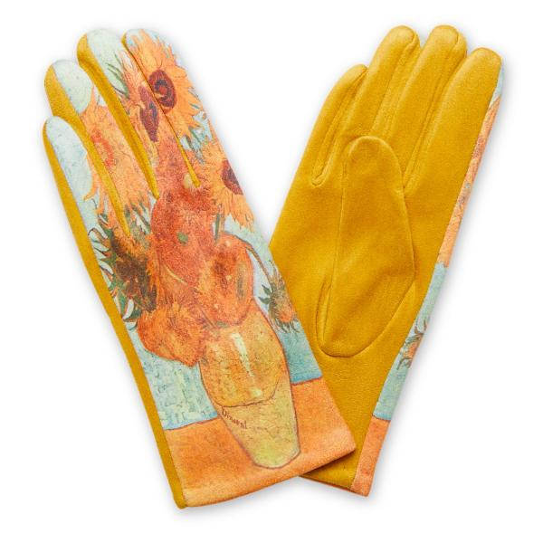 Touch Screen Smart Gloves - Fleece Lined  858-OR Art Inspired Smart Gloves (Inspired by Van Gogh)* - One Size