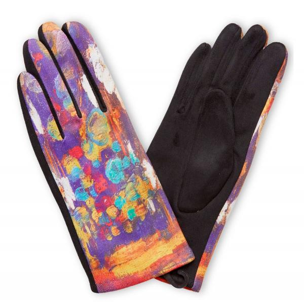 Touch Screen Smart Gloves - Fleece Lined  858-PU Art Inspired Smart Gloves (Leonid Afremov)* - One Size