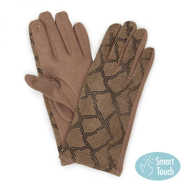 Touch Screen Smart Gloves - Fleece Lined  9762 Snake Print Taupe -