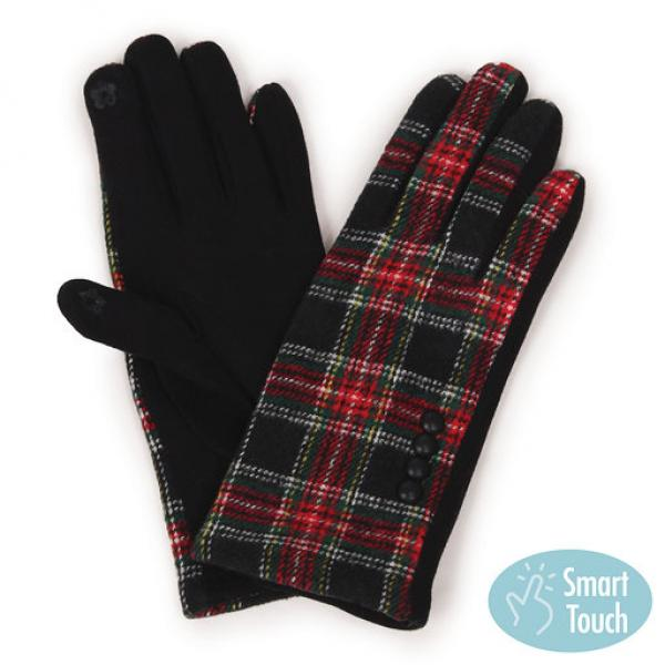 Touch Screen Smart Gloves - Fleece Lined  9763 Plaid -