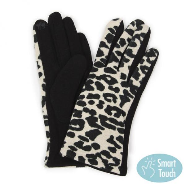 Touch Screen Smart Gloves - Fleece Lined  9780 Animal Print Ivory -