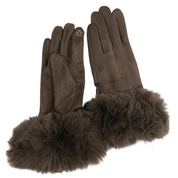 Touch Screen Smart Gloves - Fleece Lined  Premium Gloves - Faux Rabbit Fur - Brown -