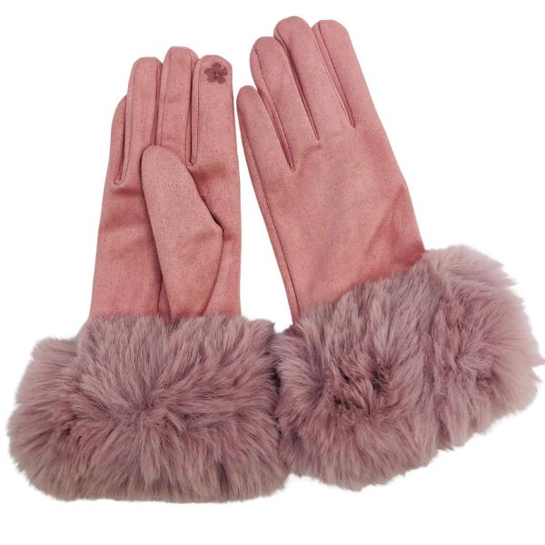 Touch Screen Smart Gloves - Fleece Lined  Premium Gloves - Faux Rabbit Fur - Dusty Pink -