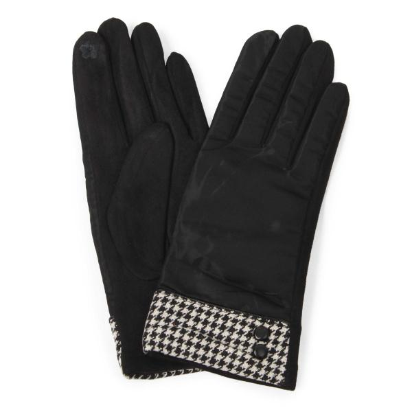 Touch Screen Smart Gloves - Fleece Lined  9886 Black Houndtooth and Button -