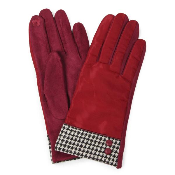 Touch Screen Smart Gloves - Fleece Lined  9886 Burgundy Houndtooth and Button -