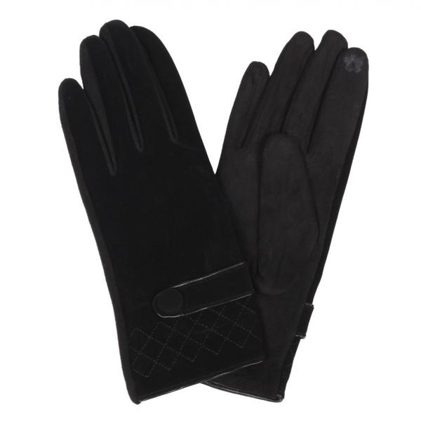 Touch Screen Smart Gloves - Fleece Lined  9829 - Faux Lambskin Black Quilted w/Button -