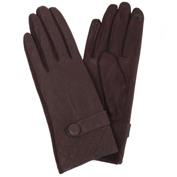 Touch Screen Smart Gloves - Fleece Lined  9829 - Faux Lambskin Brown Quilted w/Button -