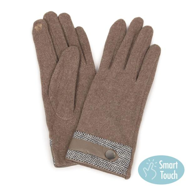 Touch Screen Smart Gloves - Fleece Lined  9759 - Taupe Herringbone -