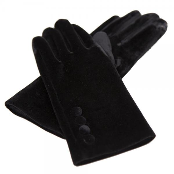 Touch Screen Smart Gloves - Fleece Lined  JG595 BLACK Velour with Buttons -